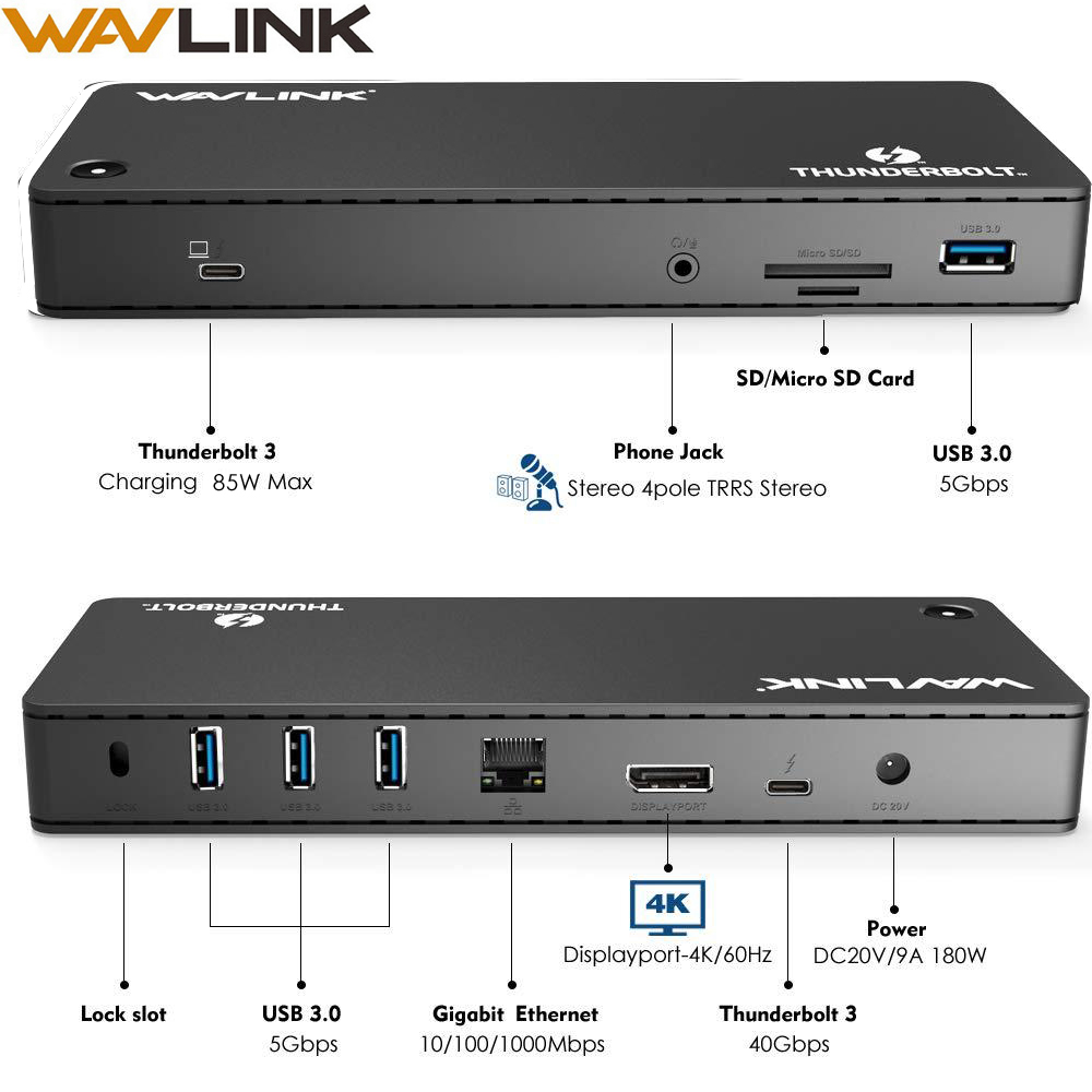 Wavlink Hz Exibição Thunderbolt 3 Docking Station Dual 4K @ 60 40 5gbps USB 3.0 Encaixe 100W PD SD /Micro Leitor de Cartão Gigabit Ethernet