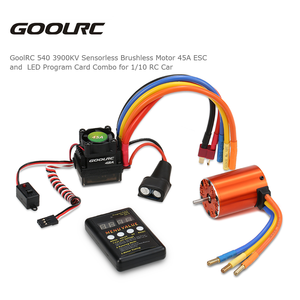 GoolRC 540 3900KV Sensorless Brushless Motor 45A ESC and LED Program Card Combo Set for 1/10 RC Car Model Radio-controlled Toys sensorless 35a brushless esc electric speed controller for rc car racing set ft