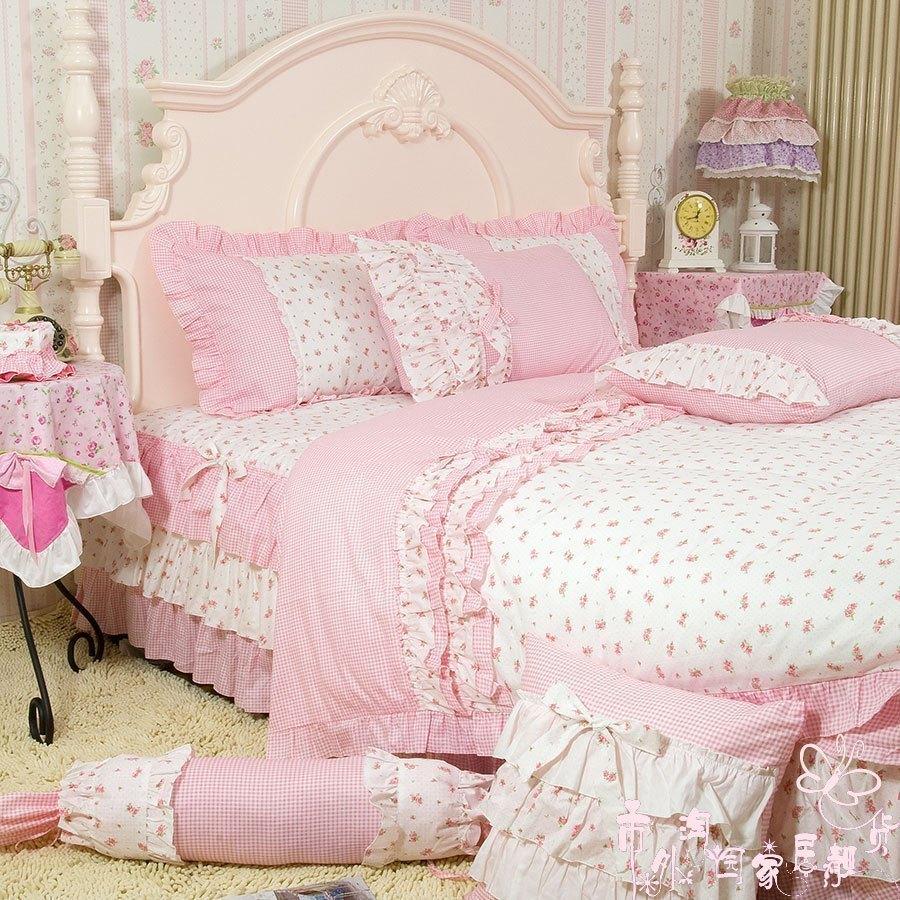 pink king size comforter sets rose print ruffle bedding princess red rose bedding set queen in. Black Bedroom Furniture Sets. Home Design Ideas