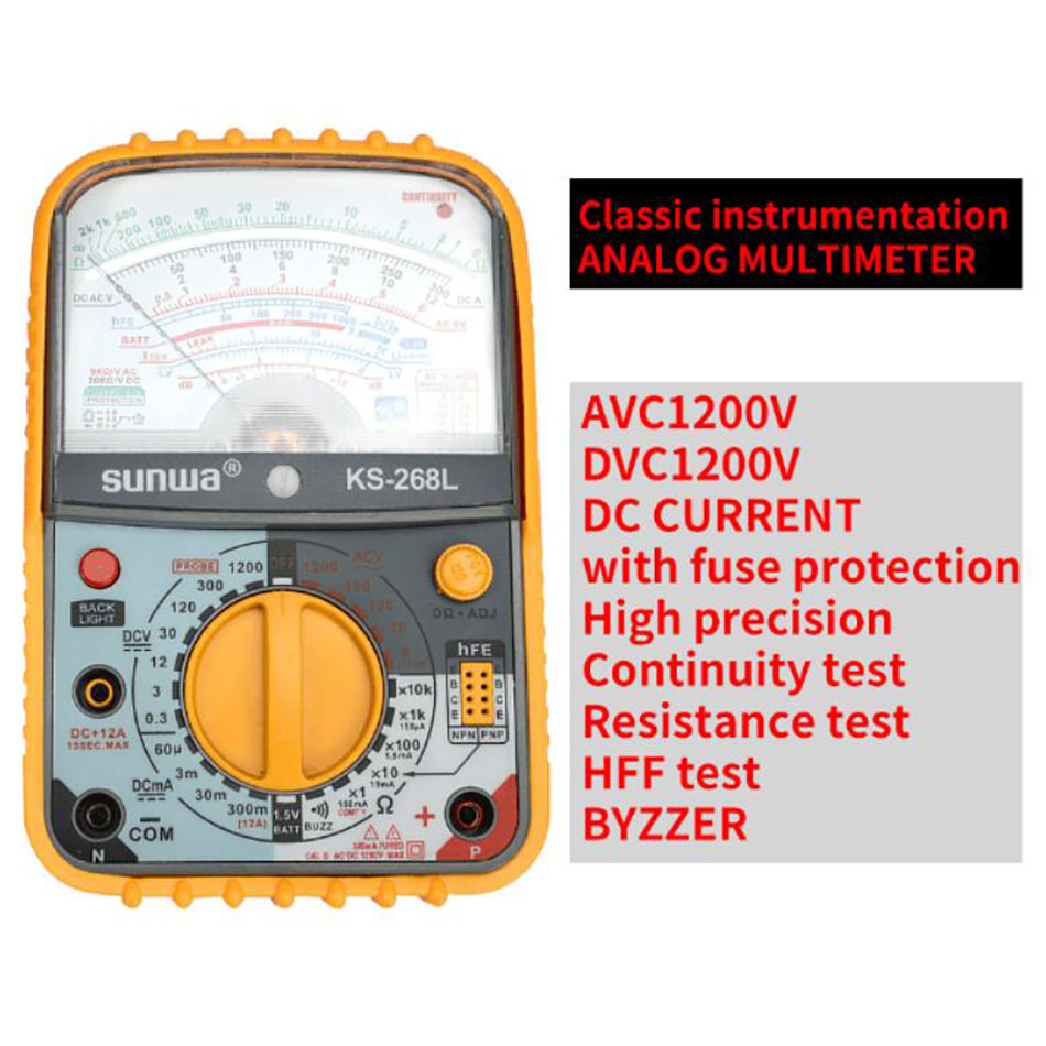 KS 268L Analog Multimeter Handheld Multimeter ACA 12A ACV DCV MAX1200V