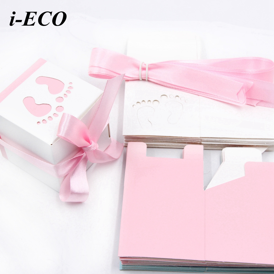 6PCS/Lot DIY Candy Box Baby Foot Cute Hollow Blue&Pink Paper Gift ...