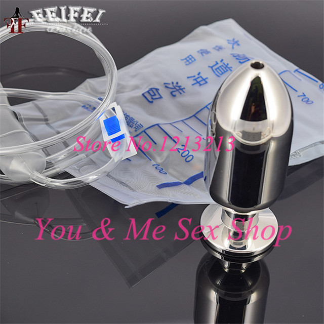 Heavy solid stainless steel anal douche cleaning enema butt plug sex toys anus rinse clean metal buttplug anal plug enemator