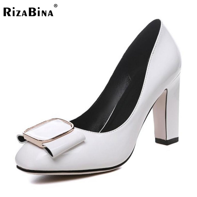 RizaBina Ladies Solid High Heels Shoes Women Bowknot Round Toe Slip On Pumps Women'S Party Office Thick Heel Footwear Size 32-42 ladies comfortable women office shoes sandals square heels spring 2017 real leather round toe solid high heels big size 40 41 42