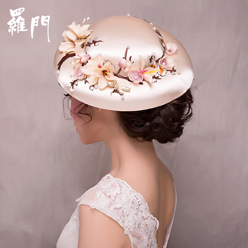 Free shipping medieval hat brimmed flower beading embroidery hat /stage/photo/performance hat /decoration use
