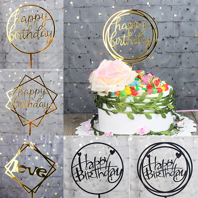 Glitter Happy Birthday Cake Topper Acrylic Letter Gold Silver Cake Top Flag Decoration for Boy Birthday Party Wedding Supplies