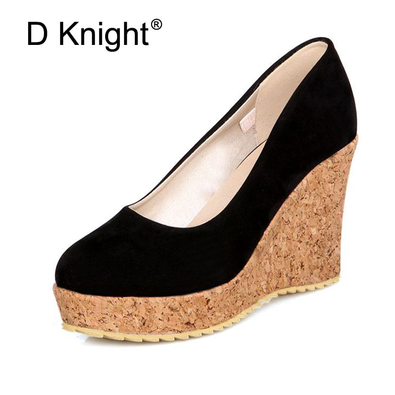 Girls Modern Pumps Plus Size 34-43  Sweet Party Wedges Round Toe Slip-On Shoes Woman Black Blue Orange Rose Red Platform Shoes female s lace up bow knot women glitter rivets rome sandal on platform plus size 42 43 round toe girls summer shoes flip flops