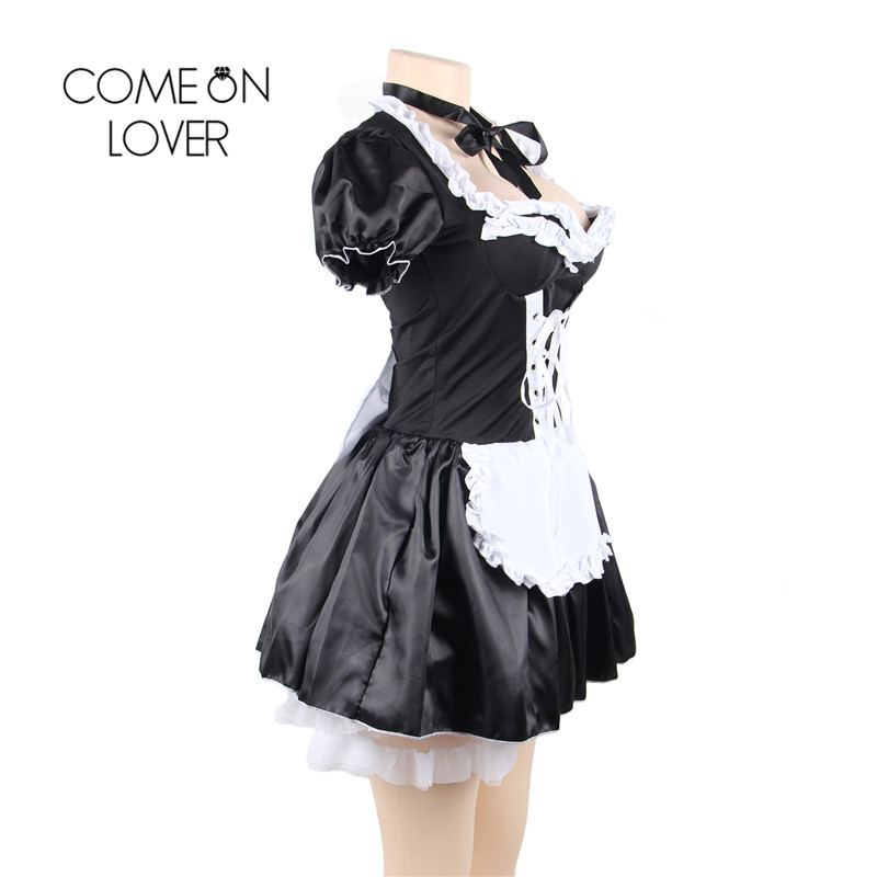 Comeonlover Halloween Satin French Maid Adult Uniform Fancy Dress Costume Plus Size Bavarian Dress Exotic Sexy Kostuum CI80704 1