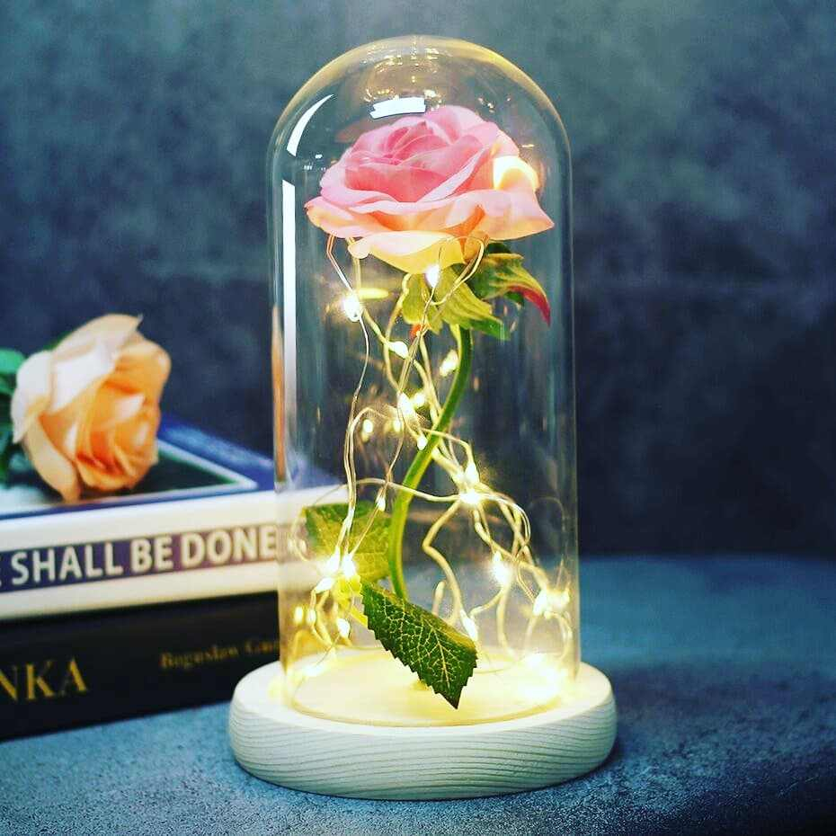 Kecantikan Rose dan Binatang Abadi Bunga Buatan Mawar String Lampu Meja Lampu Romantis Valentine Dekorasi Hadiah Natal