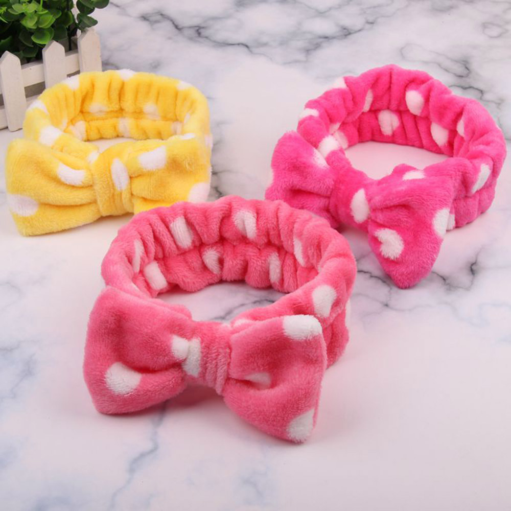 2020 Coral Fleece Hair Bow Headband Women Wash Face Makeup Bath Mask Cosmetic Soft  Elastic Hairband Turban Hair Accessories