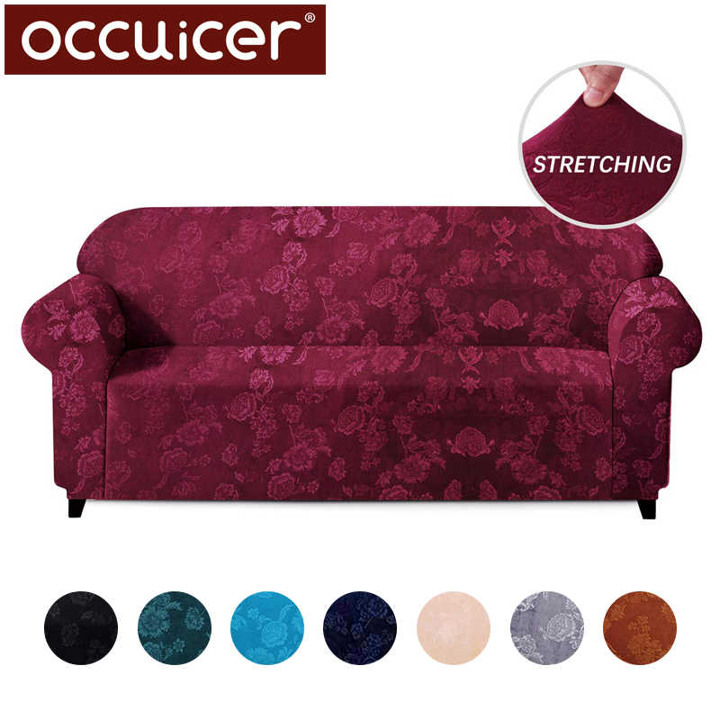 Velvet Elastic Stretch Sofa Covers Protection Embossing Floral Design Universal Armchair Corner Couch Slipcovers Sectional
