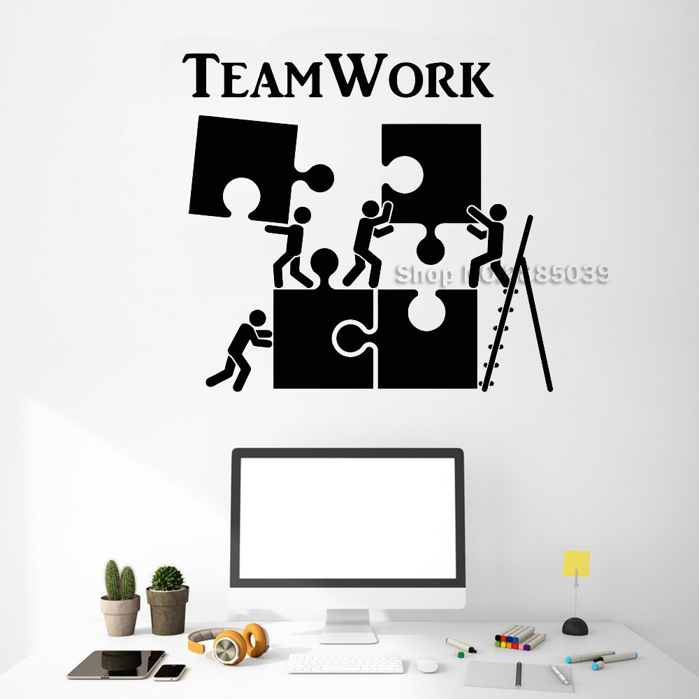 Vinyl Wall Decal Teamwork Motivation Decor For Office Worker Puzzle Wall Stickers Modern Interior Art Wall Decoration Hot LC520