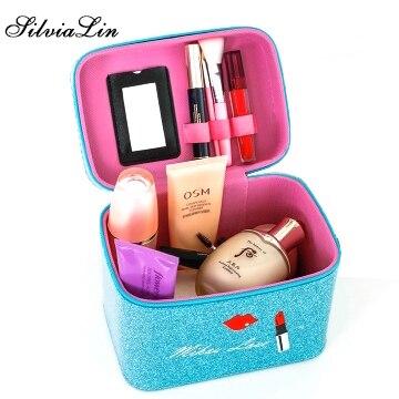все цены на Fashion Women Cosmetic Bag Travel Makeup Make Up Organizer Box Beauty Bow Large Capacity Women Sorage Wash Bags Red Lips