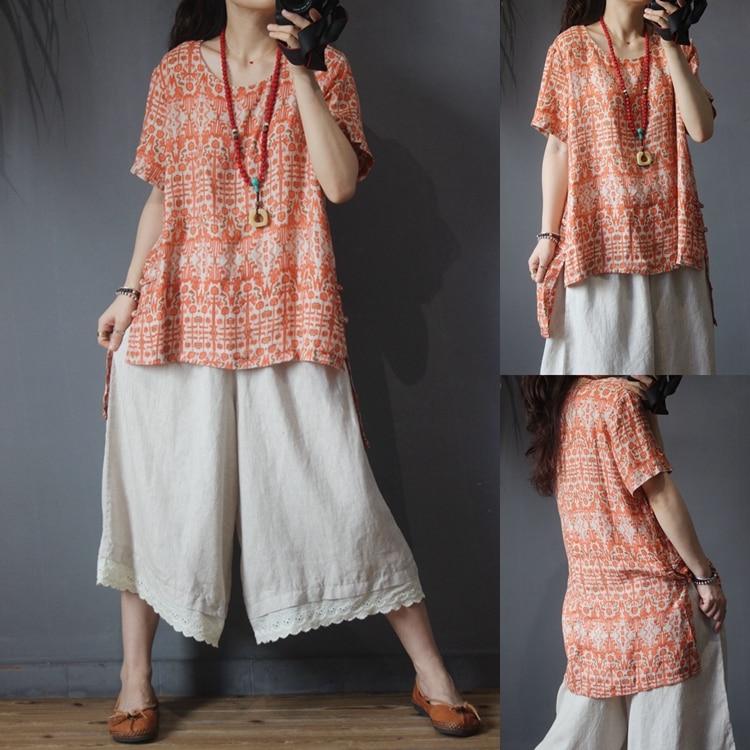 LYNETTE'S CHINOISERIE été nouvelles femmes décontracté Style chinois boutons lâche grande taille imprimé Floral coton lin chemises/Blouses