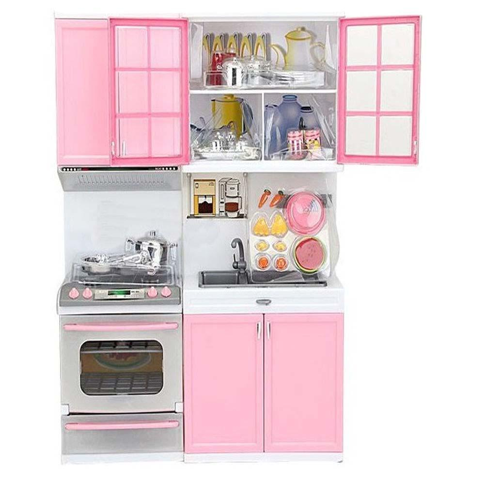 Kids Children Kitchen Cook Cabinet Cool Pretend Play Pink Cookware Stove Toy