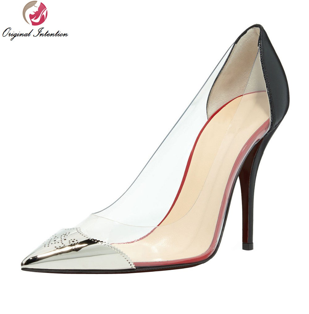 ФОТО Original Intention High-quality Elegant Women Pumps Sexy Pointed Toe Thin Heels Beautiful Pumps Concise Fashion Shoes Woman