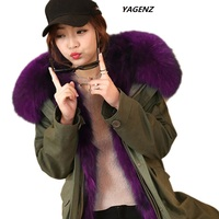 Raccoon Dog Fur For Girls Winter 2019 Army Green Parka Coat With Fur Hood Ladies Winter Jacket Faux Fur Inside Warm Outerwear