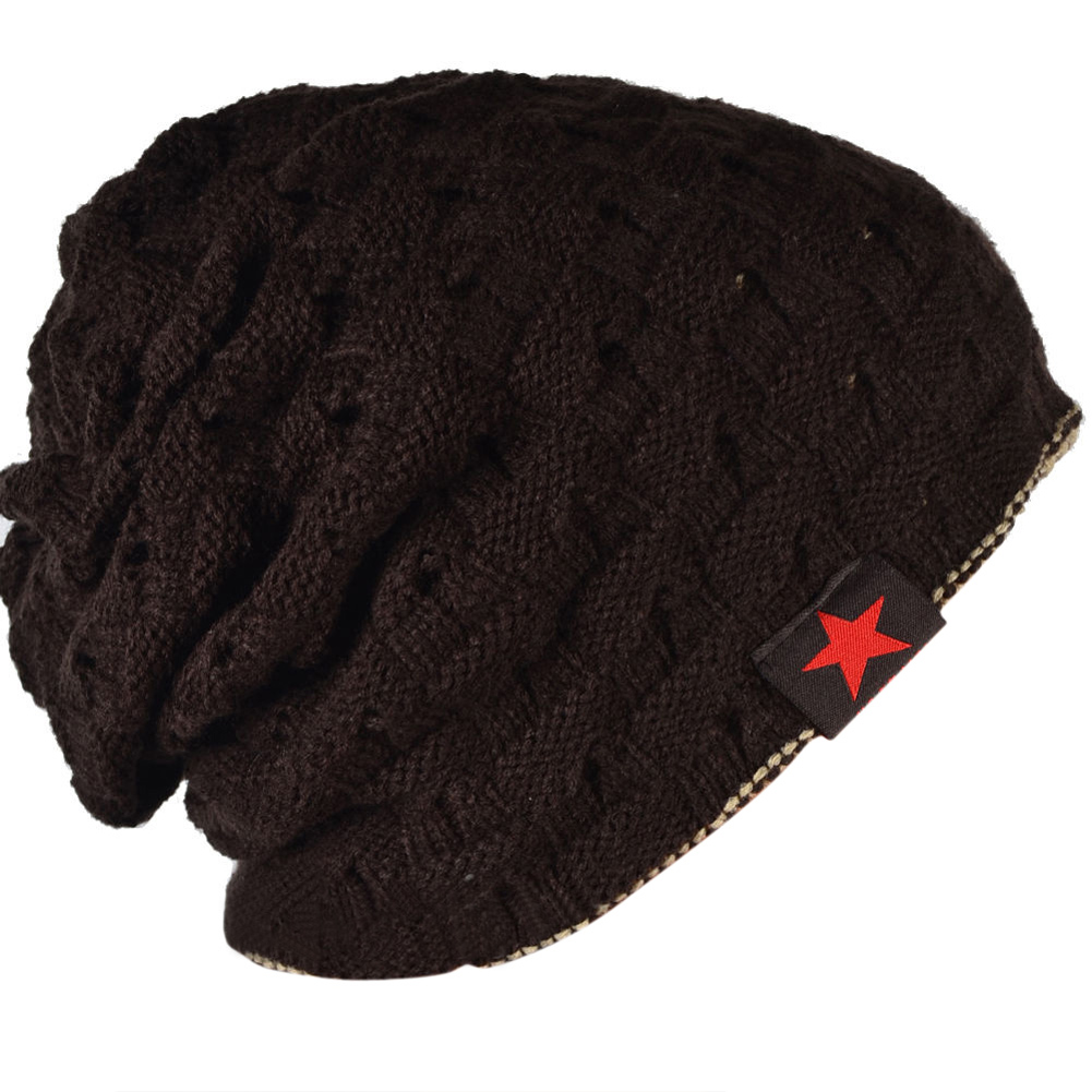 New Men Knit Beanie Reversible Baggy Cap Skull Chunky Winter Hat X085 - coffee adult men in europe and america new winter jacquard knit skull cap red khaki black velvet cap sleeve head