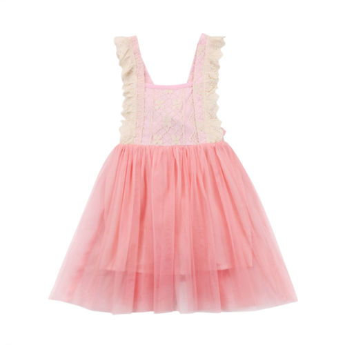 Fashion Toddler Kids Girls Princess Pink Lace Tulle Tutu Dress Party Dresses Enfant Children Girl Lace Brief Sundress Lovely one piece new kids girl princess sheer tulle tutu summer dress newborn toddler lace vest party sundress