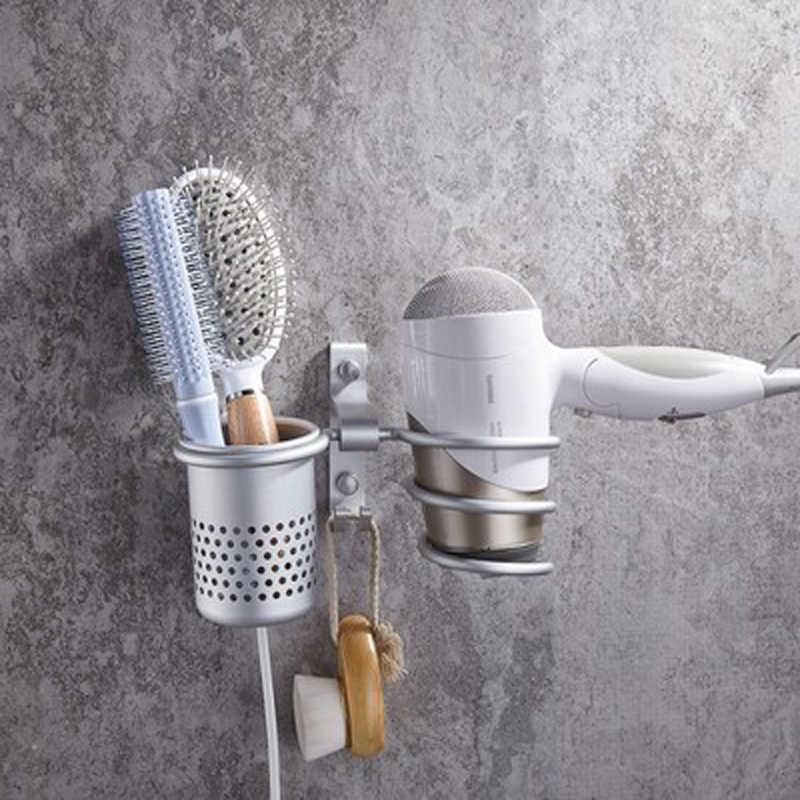 Space Aluminum Bathroom Organizer Holder Combs Towel Toothbrush Shower Hanger Shelf Kit Set Hair Dryer Storage Trays Shelves