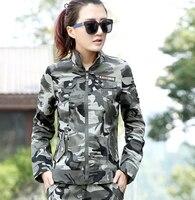 2015 primavera ao ar livre militar projeto curto ocasional Camouflage Outerwear fêmea Zipper ferramentas longas - de manga Top jaqueta do exército verde