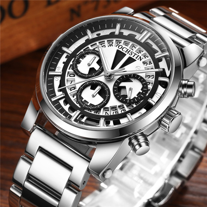 OCHSTIN Mens Watch CHronograph Date Men Watches Stainless Steel Band Top Brand Luxury Military Army Sport Quartz Male Clock 6110 cadisen top mens watch fashion sport military army chronograph date display waterproof men quartz watch stainless steel band