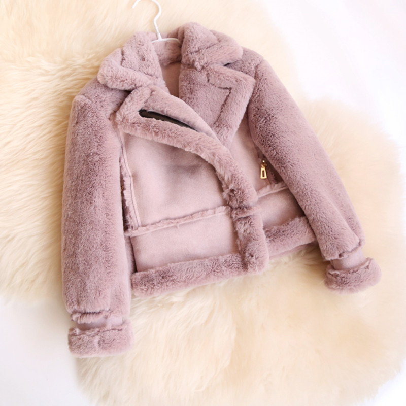 2018 Winter Girls Faux Fur Fleece Coat Suede Patchwork Cool Zipper Girls Jackets And Coats Children Faux Suede Coat Outerwear