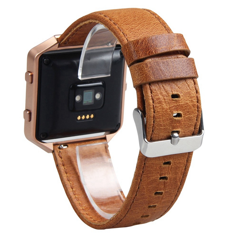 V-moro 2017 New Fashion Watch Straps For Fitbit Blaze Bands With Metal Frame 2 in 1 Genuine Leather For Fitbit Blaze Wrist Band
