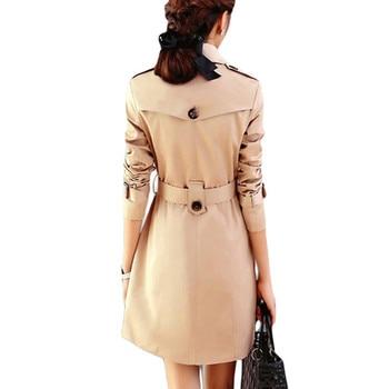 AKSLXDMMD Double Breasted Md-long Trench Coat Women 2019 New Fashion Belt Cloak Polerones Mujer Windbreaker Female Abrigo ZL3471 2