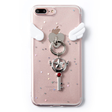 Glitter Cartoon wing star Pendant Phone Case For iphone 6 6s 7 8 plus Soft TPU Cover Capa Para