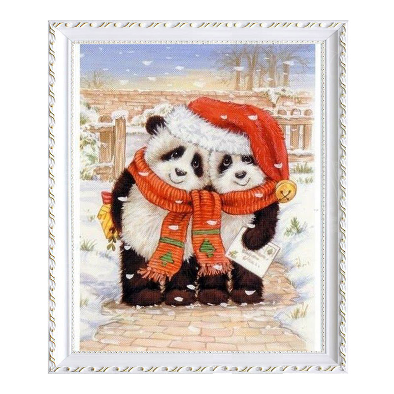 Full Diamond Painting Two pandas wearing christmas caps Cross Stitch diamond embroidery Home Decoration Needlework mosaic wall s
