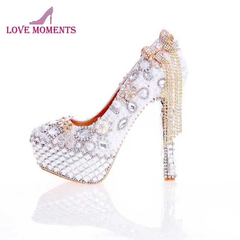 2018 New Arrival Women High Heel Shoes White Pearl and Crystal Wedding Dress Shoes with Bow Tassel Rhinestone Prom Party Pumps new arrival white wedding shoes pearl lace bridal bridesmaid shoes high heels shoes dance shoes women pumps free shipping party
