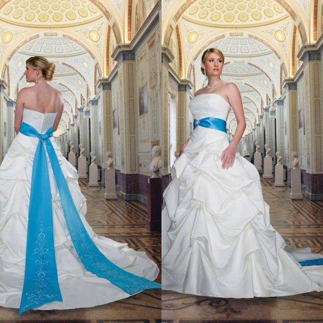 2014 Royal Blue And White Embroidery Cheap Plus Size Wedding Dresses