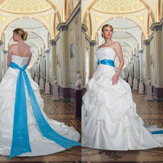 2014 Royal Blue and White Embroidery Cheap Plus Size Wedding ...