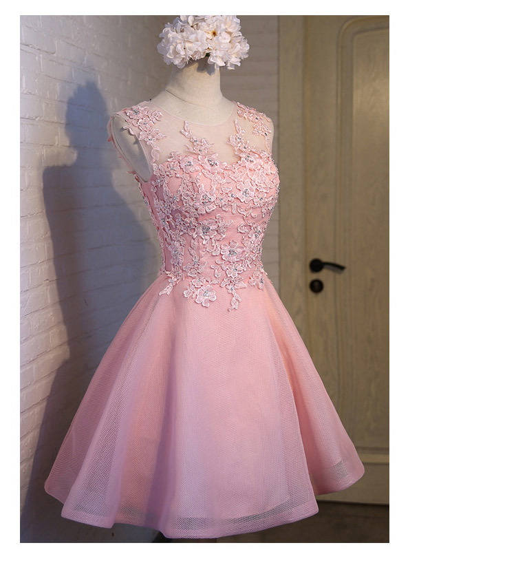 Short Evening Dress 2018 Sweet Pink O-neck Lace Ball Gown New Bride Party Formal Dress Custom Homecoming Dresses Robe De SoireeC 11