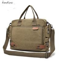 FanFine New Male Briefcases Big Business Men Messenger bag Canvas Men's Handbags Travel Cross Body Men Shoulder Bags Black