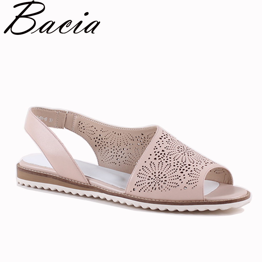 Bacia New Casual Soft Leather Hollow shoes Peep-toe Flats Pink Spring Summer Leisure Sheep Skin shoes Size 33-41 VXA005