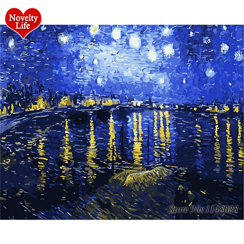 Van Gogh Picture Frame Oil Painting By Numbers Starry Sky Abstract Wall Art DIY Digital Canvas Paint Home Decor Living Room B07