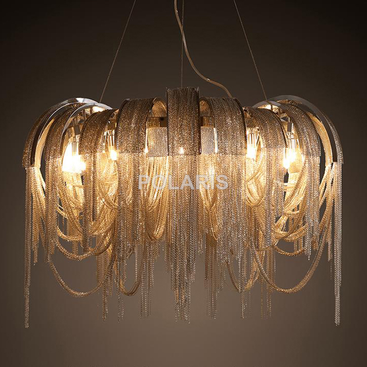 Modern Vintage Lamp Aluminum Chain Chandelier Lighting Luxury Stair Pendant Hanging Lights for Home Hotel Restaurant Decoration aluminum chain pendant light fixture vintage empire suspension lamp french chain hanging lustre for living room hotel restauran