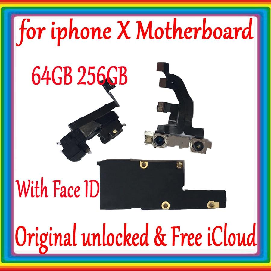 100% Original Motherboard Para o iphone X Desbloqueio De Fábrica Mainboard Com/Sem Rosto ID Com Fichas Completas IOS Sistema de Lógica placa
