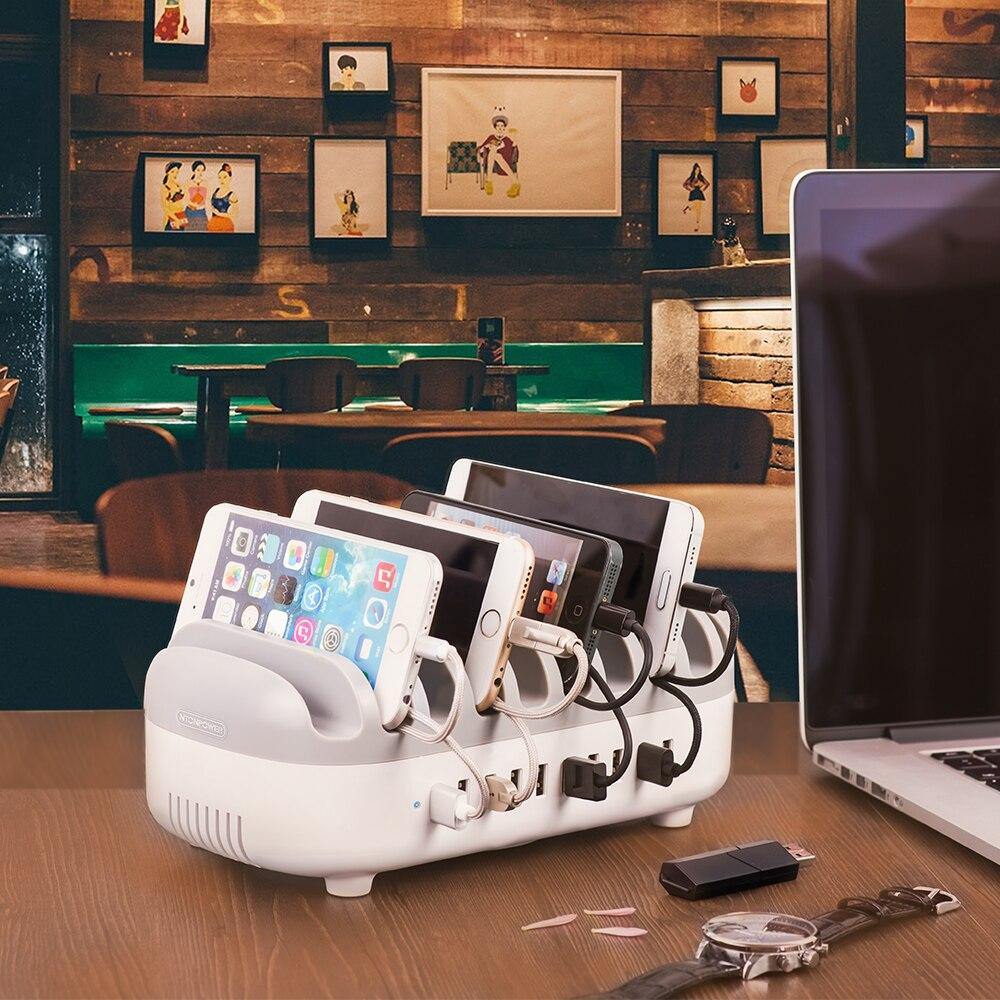 Station de chargement Multi USB de bureau NTONPOWER avec support pour téléphone organisateur 10 Ports 2.4A charge rapide pour iPad/iPhone/Xiaomi - 6