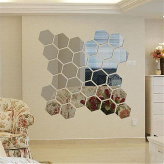 12 unids/set 3D Espejo Pegatinas de Pared Geométrico Hexágono Acrílico Etiqueta de La Pared Home Living Room Decoration