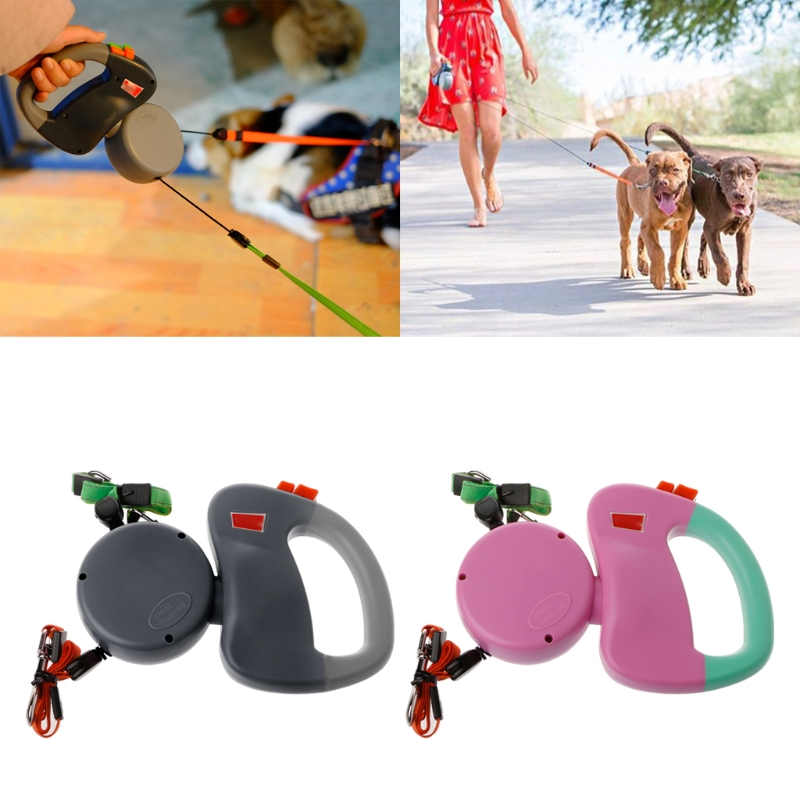Auto Retractable Double-Headed Dog Leash Walking Lead 3M Pulling Training Rope
