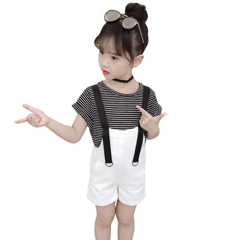 Baby Outfits Short Sleeve Striped T-shirts For Girls Overalls 2Pcs Summer Girls Clothing Sets Children Tees & Denim Shorts 2-12Y toddler boys clothing sets girls outfits striped panda t shirts & overalls 2pcs baby girls tees infants clothes boys pants 9m 4y