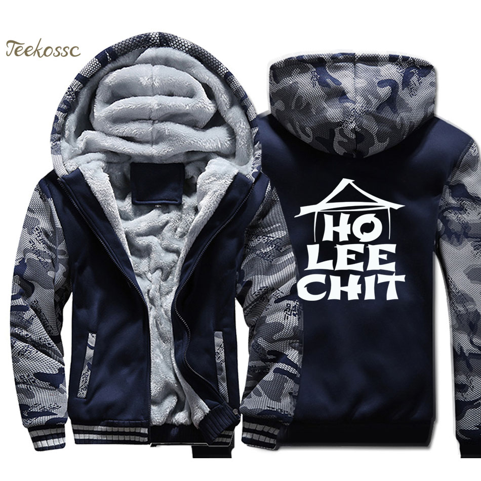 Ho Lee Chit Holy SHT Funny Graphic Hoodie Men Print Hooded Sweatshirt Coat Winter Thick Fleece Warm Jacket Mens Brand Streetwear