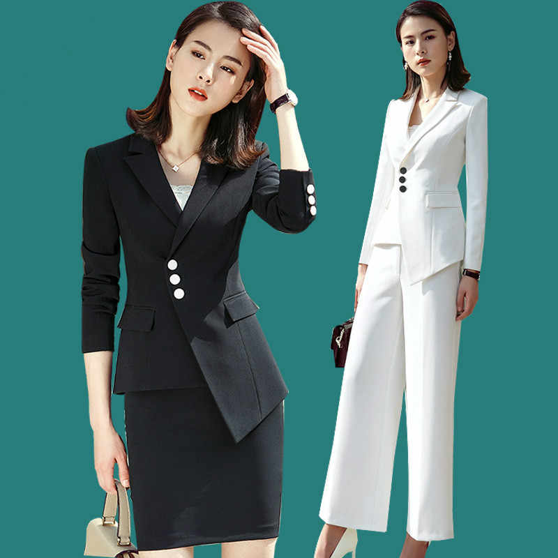 High Quality 2018 New Professional Wide Leg Pants New Suit Fashion Temperament Self-cultivation Host Work Clothes Two-piece