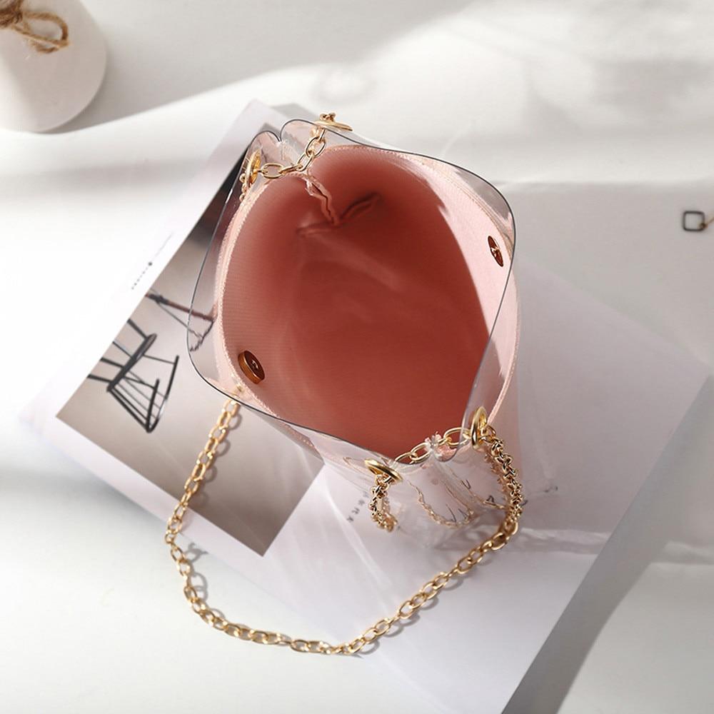 2018 Fashion Women Brand Mini Small Shoulder Bag Clear Transparent  Drawstring Girls Cute Composite Bag Female ... 1a22fc6ba03b4