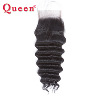 Queen Hair Products Loose Deep More Wave Brazilian Hair Weave Bundles Remy Human Hair Bundles Middle Lace Closure with Baby Hair