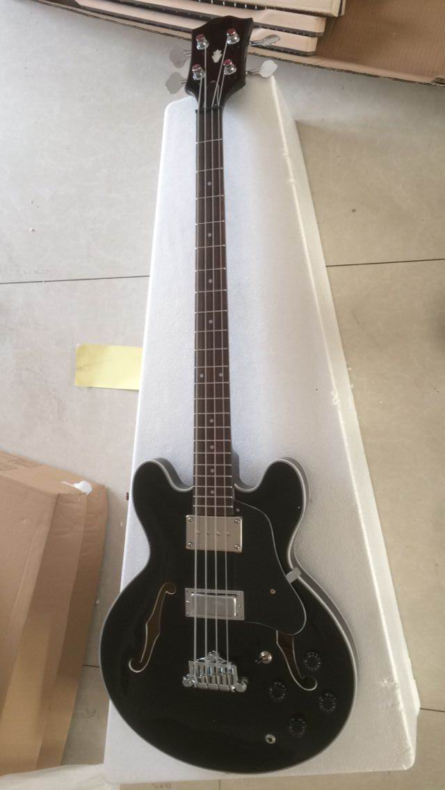 Commercio all'ingrosso di New 4 corde 4003 basso elettrico Jazz guitar semi hollow bass guitar In nero 170120