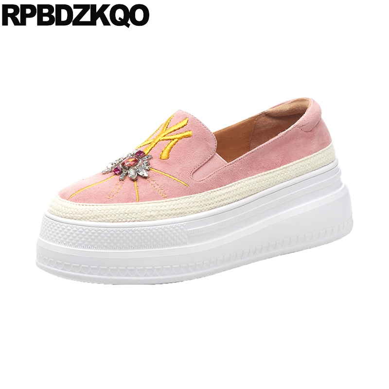 Thick Sole Casual Pink Creepers Platform Shoes Diamond Embroidery Muffin Embroidered Crystal Elevator Women Rhinestone WedgeThick Sole Casual Pink Creepers Platform Shoes Diamond Embroidery Muffin Embroidered Crystal Elevator Women Rhinestone Wedge