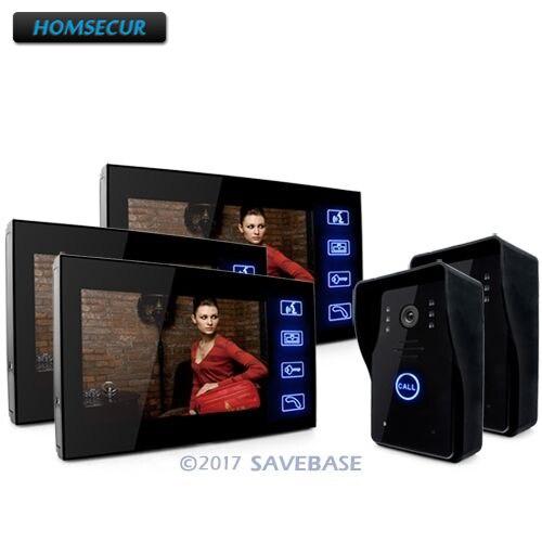 HOMSECUR 7 Video Doorphone Intercom Doorbell Home Security 2 Cameras With Night Vision + 3 Monitors